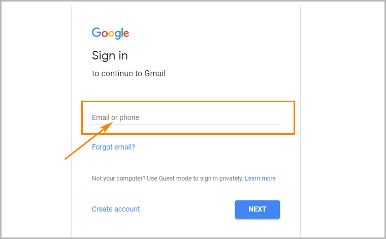 Enable Gmail desktop notifications step 1 log into account